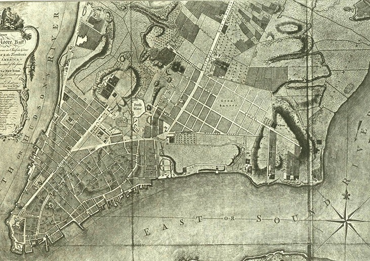(A map from 1766 showing the many farms dotting lower Manhattan)